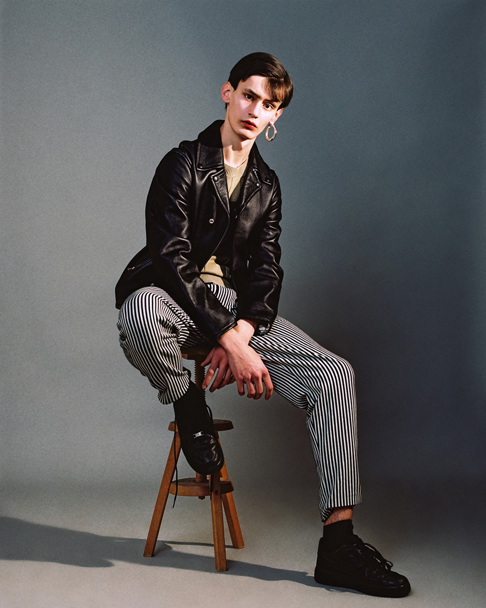 Jacket Acne Studios, t-shirt Dries Van Noten, pants Laurence Airline, shoes stylists own, earring stylist own