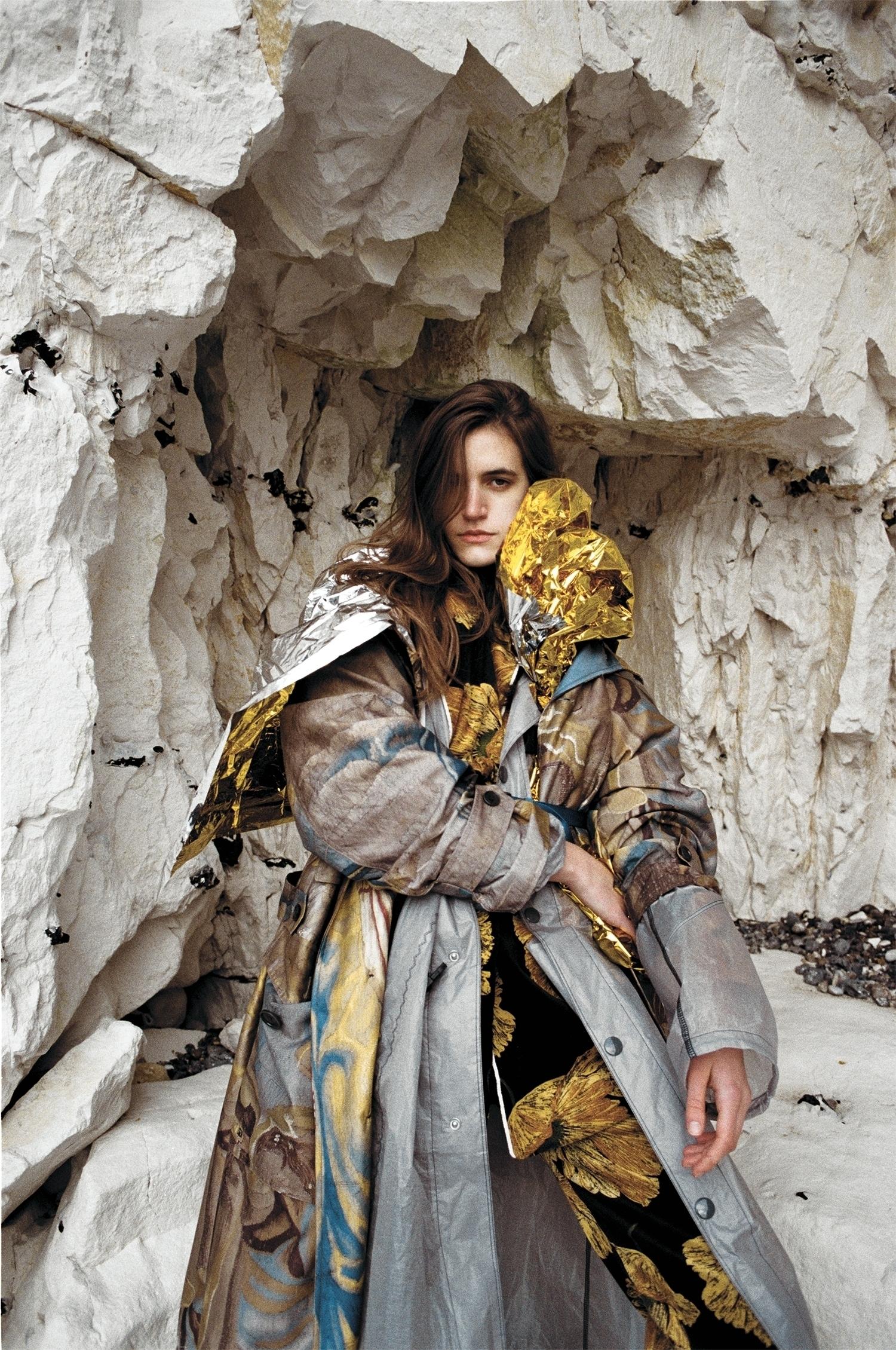 Printed parka by Dries Van Noten, coat by Prada, printed suit by Gucci.
