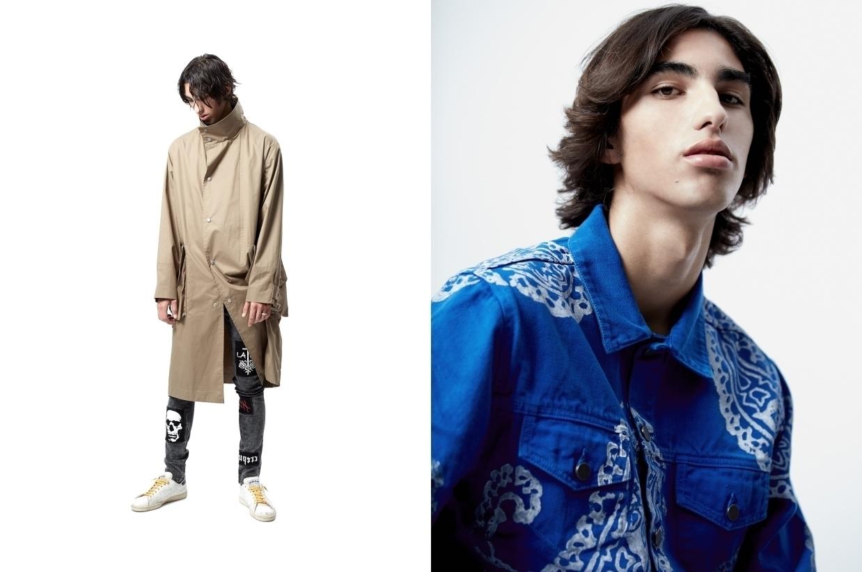 Left : Coat Margiela, denim El Local de Charlotte, sneakers Adidas Stan Smith. Right :Jacket 424.
